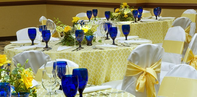 Tables decorated in blue and yellow