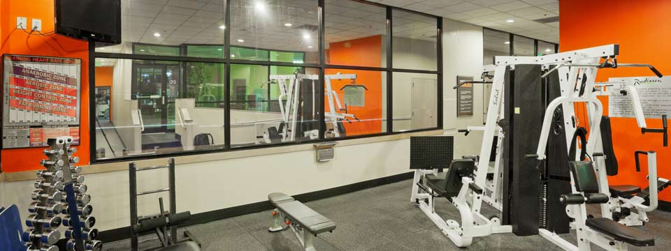 Fitness center with free weights and weight machines