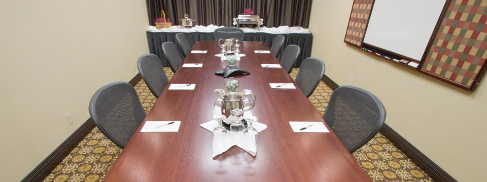 Boardroom with a catered meal at the Radisson in Seattle