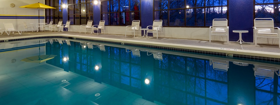 Indoor pool and patio area at the Radisson in Seattle