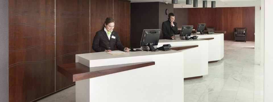 Reception desk with staff