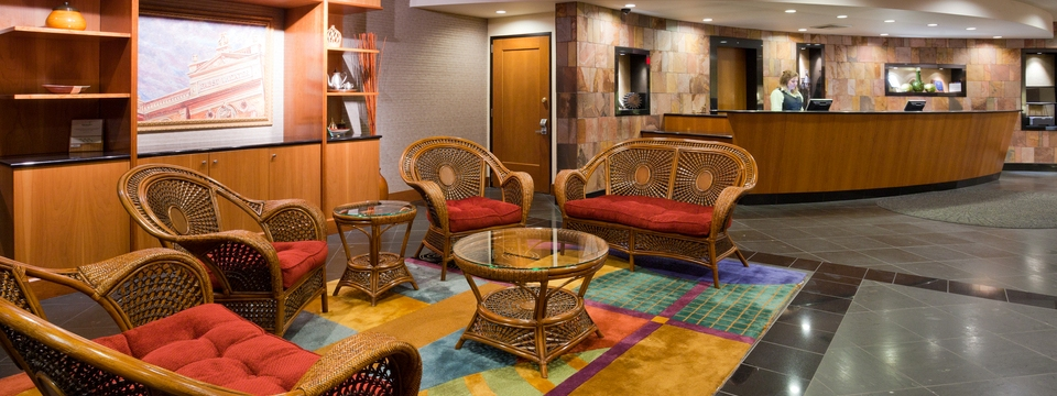 Colorful lobby with wicker furniture