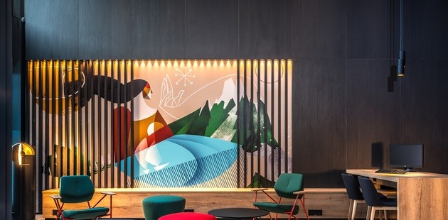 Giant contemporary mural in hotel lobby