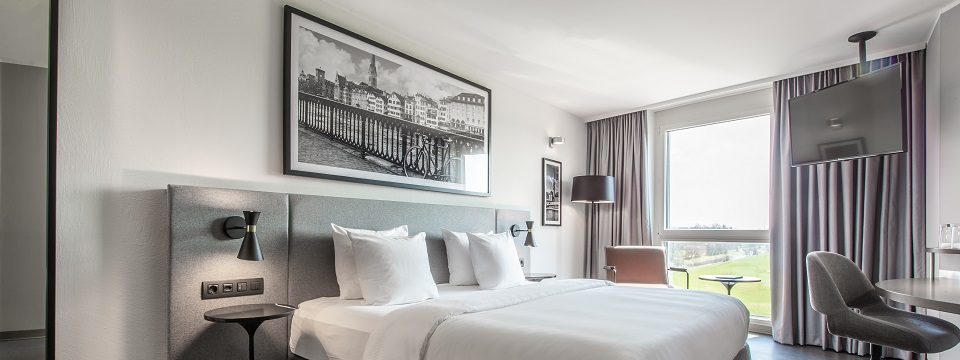 Standard Room with plush bed and large black and white photograph