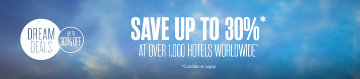 Save up to 30% at over 1,000 hotels worldwide